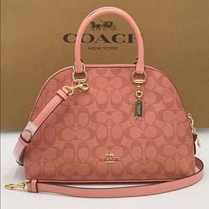 COACH Katy Satchel In Signature Canvas CANDY PINK